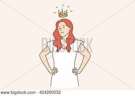 Selfish Girl And Society Concept. Arrogant Young Woman Cartoon Character Standing With Crown Above H
