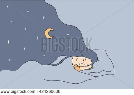 Having Sweet Dreams At Night Concept. Young Positive Girl Cartoon Character Lying In Bed Sleeping Ha