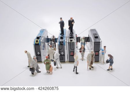 Figure People Enter The Ticket Gate For Subway Train At A Subway Station