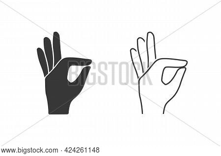 Gesture Okay Solid Icon Set. Ok Hand Gesture Vector Illustration Isolated On White. Yes Symbol Glyph