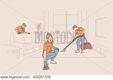 People Working As Cleaners In Service Concept. Group Pf People Workers Cleaners Tiding Up Apartment