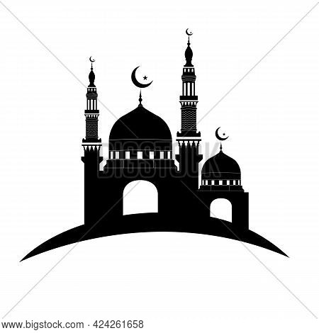 Mosque Icon Vector Illustration Design Template, Islamic Mosque Icon On White Background