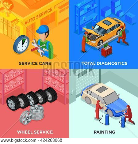 Car Service Isometric 2x2 Design Concept With Total Diagnostic Wheel Service And Painting Compositio