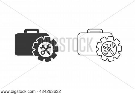 Toolbox With Instruments Inside. Workmans Toolkit. Workbox In Icon Set Style. Vector Illustration