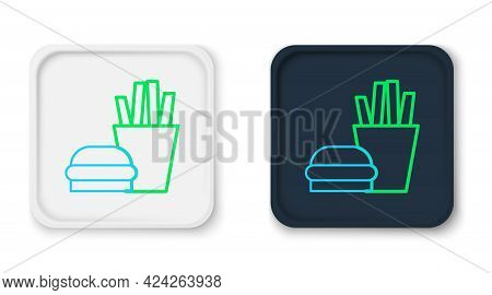 Line Burger And French Fries In Carton Package Box Icon Isolated On White Background. Hamburger, Che