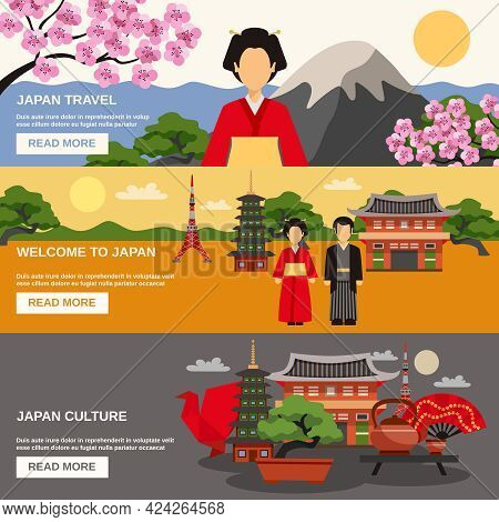 Top Tourists Attraction In Japan 3 Flat Horizontal Banners Set Webpage For Travelers Abstract Isolat