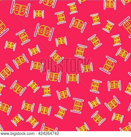 Line Old Western Swinging Saloon Door Icon Isolated Seamless Pattern On Red Background. Vector