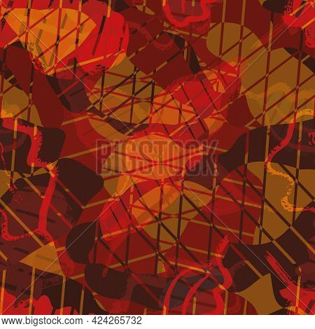 Abstract Oak Leaf Weave And Swirl Vector Seamless Pattern Background. Irregular Foliage Shapes And E