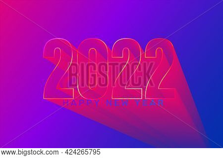 2022 New Year Futuristic Greeting Banner With Gradient Background. Perspetive 3d Numbers With Wishin