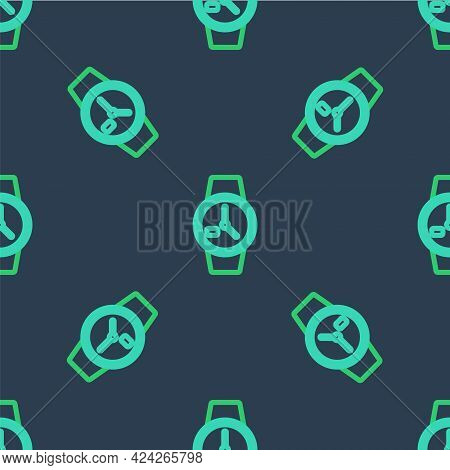 Line Wrist Watch Icon Isolated Seamless Pattern On Blue Background. Wristwatch Icon. Vector