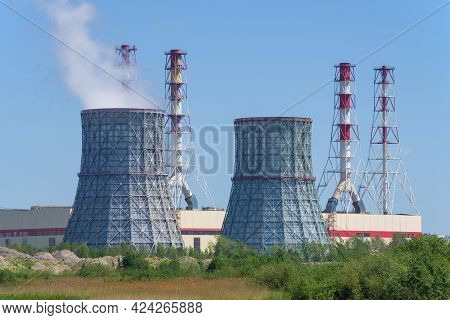 Saint Petersburg, Russia - June 04, 2021: Cooling Towers Of The Southwestern Tpp On A Sunny June Day