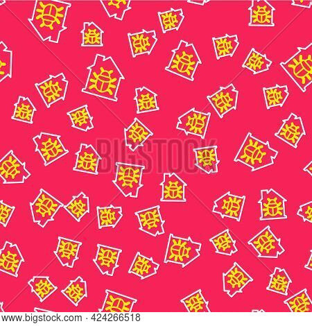 Line House System Bug Concept Icon Isolated Seamless Pattern On Red Background. Code Bug Concept. Bu