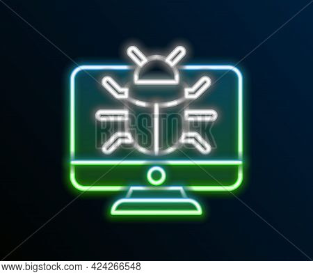 Glowing Neon Line System Bug On Monitor Icon Isolated On Black Background. Code Bug Concept. Bug In
