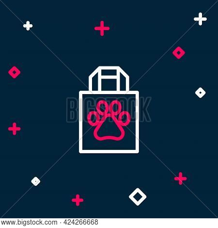 Line Shopping Bag Pet Icon Isolated On Blue Background. Pet Shop Online. Animal Clinic. Colorful Out