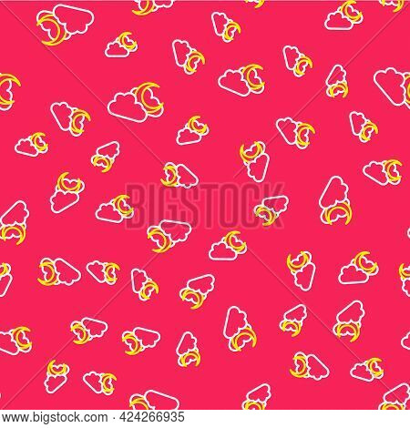 Line Cloud With Moon Icon Isolated Seamless Pattern On Red Background. Cloudy Night Sign. Sleep Drea