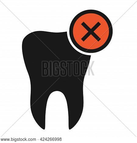 Tooth Dont S Flat Icon Isolated On White Background. Tooth Vector Illustration. Dentistry Symbol. St