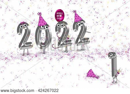Humorous 3d Illustration For New Year 2022 Silver Numbers Wearing Party Hats In With Party Balloon A