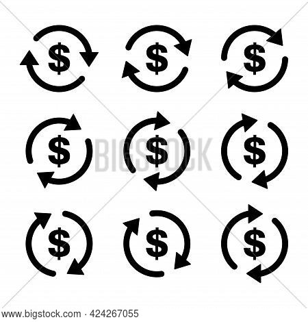 Set Of Dollar Money Icon, Collection Of Usd Business Sign, Market Economy Vector Illustration .