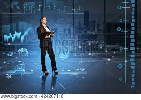 Businesswoman Holding Her Notes And Thinking On Business Trading Strategy. Hologram Of Financial Dat