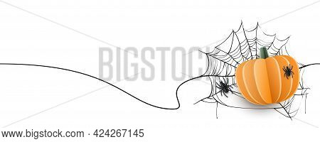 Paper Cut Realistic Pumpkin, Spiders, Web With Continuous Seamless Line Border On Orange Background
