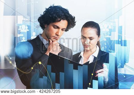 Businessman And Businesswoman Are Looking For New Talented Candidates For Corporate Accounting Compa