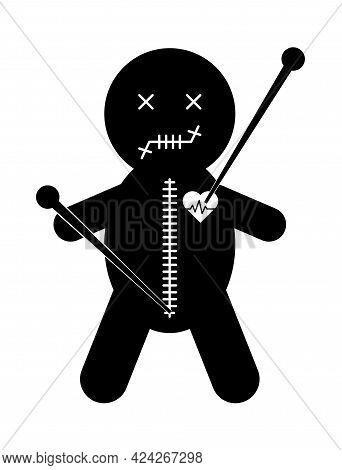 Voodoo Doll Icon, Halloween Death Toy. Cartoon Magic Symbol, Magical Vector Illustration .