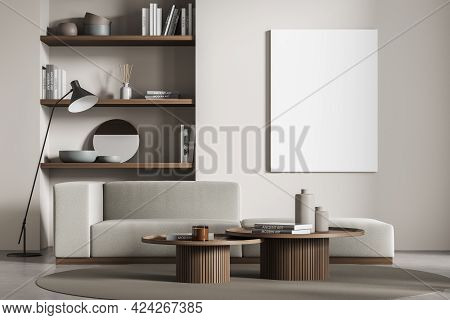Living Room Interior With Grey Sofa, Concrete Floor, Lamp And Window. Library, Art Room With Minimal
