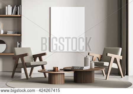 Relaxing Room Interior With Two Seats On Carpet And Concrete Floor, Rack With Decoration And Books.