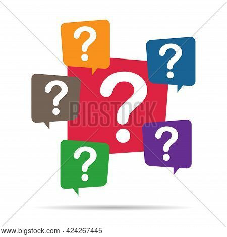 Question Mark, Frequently Asked Questions Vector Icon. Information Speech Bubble Symbol, Help Messag
