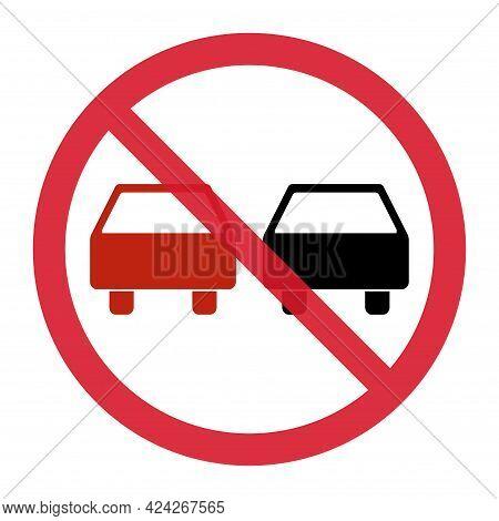 No Overtaking Warning Road, Prohibition Transportation Icon, Car Forbidden Information Vector Illust