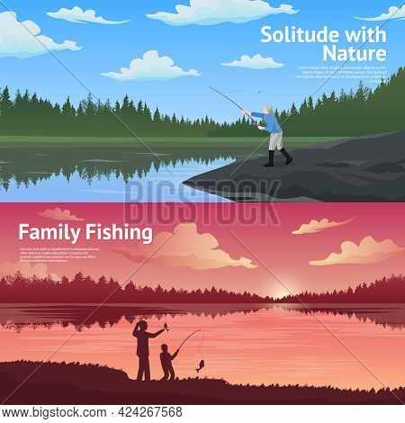 Family Fishing In The Counryside 2 Flat Horizontal Banners Set About Outdoor Activirties Abstract Is
