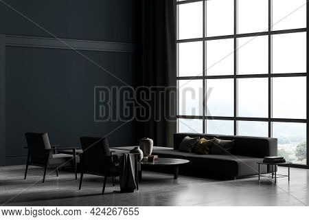 Copy Space Mockup Wall In Villa Living Room Design Interior, Grey Furniture On Gray Blue Wall, Concr