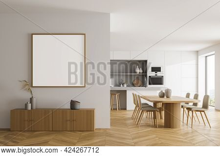 Light Kitchen Set With Dining Table And Wooden Chairs On Parquet Floor. Cooking Room With Commode, W