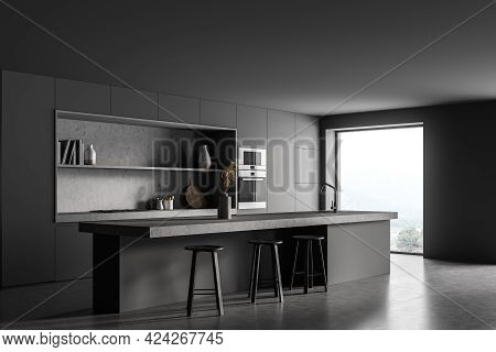 Black Kitchen Room With Black Table And Three Bar Chairs, Side View, Concrete Floor. Cooking Set Int