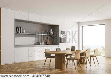 White Kitchen Room With Table And Six Chairs, Side View, Parquet Floor. Cooking Set Interior With Wi