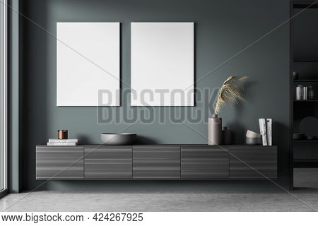 Exhibition Art Room Interior With Black Wooden Commode, Books And Vase On Concrete Floor. Two Blank