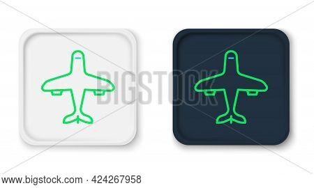 Line Plane Icon Isolated On White Background. Flying Airplane Icon. Airliner Sign. Colorful Outline