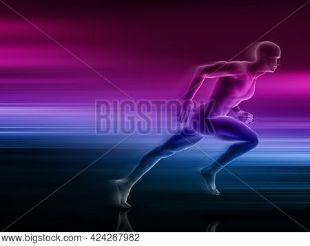 3D render of male figure running with motion design