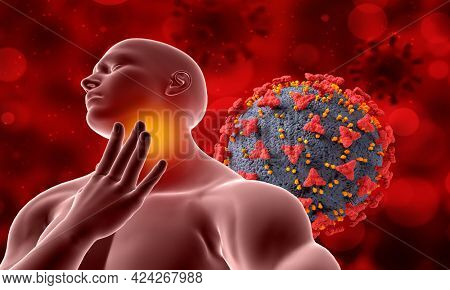 3D medical background with male figure and Covid 19 virus cells