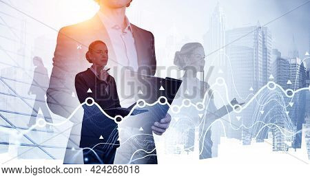 Double Exposure Of Positive Young Professionals. Line Graphs. Silhouettes Of Diverse Business People
