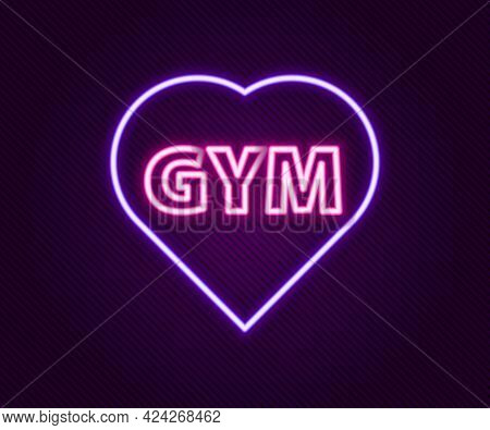 Glowing Neon Line Fitness Gym Heart Icon Isolated On Black Background. I Love Fitness. Colorful Outl