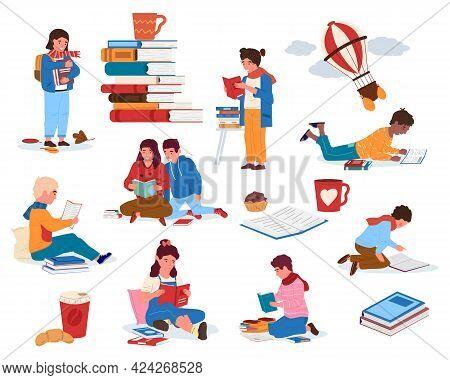 Children Reading Books. Cartoon Kids With Piles Of Textbooks. Little Literature Fans. Happy Bookworm
