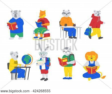 Animals At School. Cartoon Creatures Reading Books. Characters Study. Hare Carrying Textbooks. Lion
