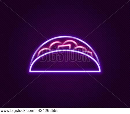 Glowing Neon Line Taco With Tortilla Icon Isolated On Black Background. Traditional Mexican Fast Foo