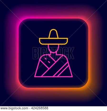 Glowing Neon Line Mexican Man Wearing Sombrero Icon Isolated On Black Background. Hispanic Man With