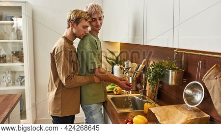 Young Same-sex Caucasian Male Couple Hugging While Preparing Food Side By Side In Kitchen, Widescree