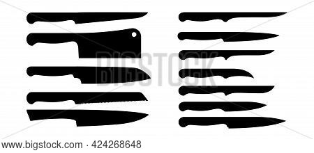 Knives Silhouettes. Kitchen Cutlery And Butcher Cooking Metal Appliance. Black Cookware. Various Kit