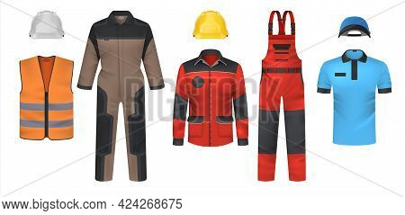 Realistic Uniform. Workwear Clothes Mockup. Jumpsuit And T-shirt, Bright Jacket Or Vest. Safety Outf