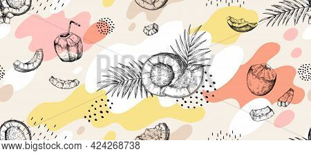 Doodle Coco Pattern. Hand Drawn Seamless Texture Of Tropical Coconuts And Palm Leaves. Abstract Spot