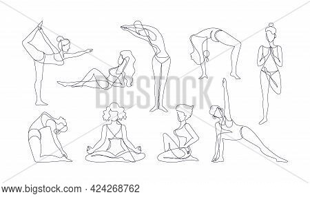 Line Art Woman Body. Continuous Monoline Of Young Girl Yoga Poses. Sport Training. Outline Female Fi